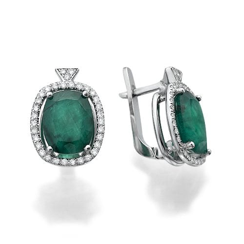 עגילי יהלומים ואבן חן אמרלד