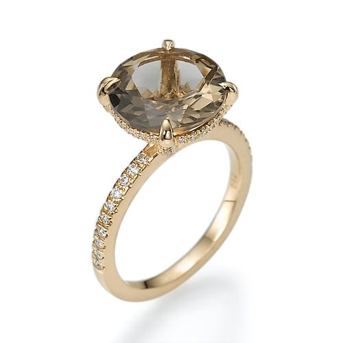 טבעת יהלומים ואבן חן סמוקי קוורץ