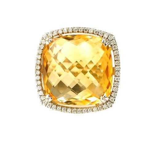 טבעת סיטרין צהוב ויהלומים