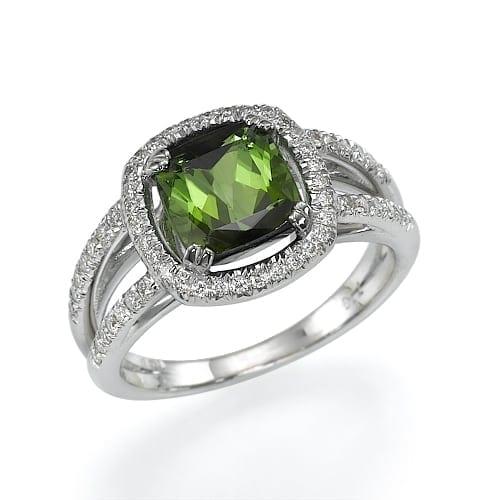 טבעת יהלומים ואבן חן טורמלין