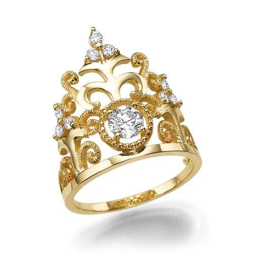 טבעת יהלומים דגם Crown