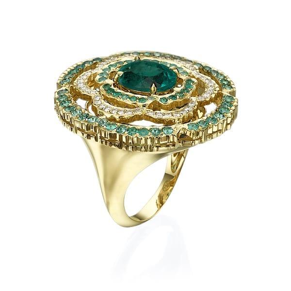 טבעת אמרלד ויהלומים דגם  Scarlett