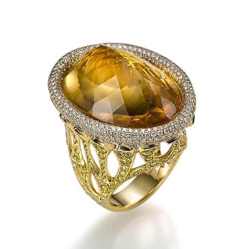 טבעת יהלומים ואבן חן סיטרין