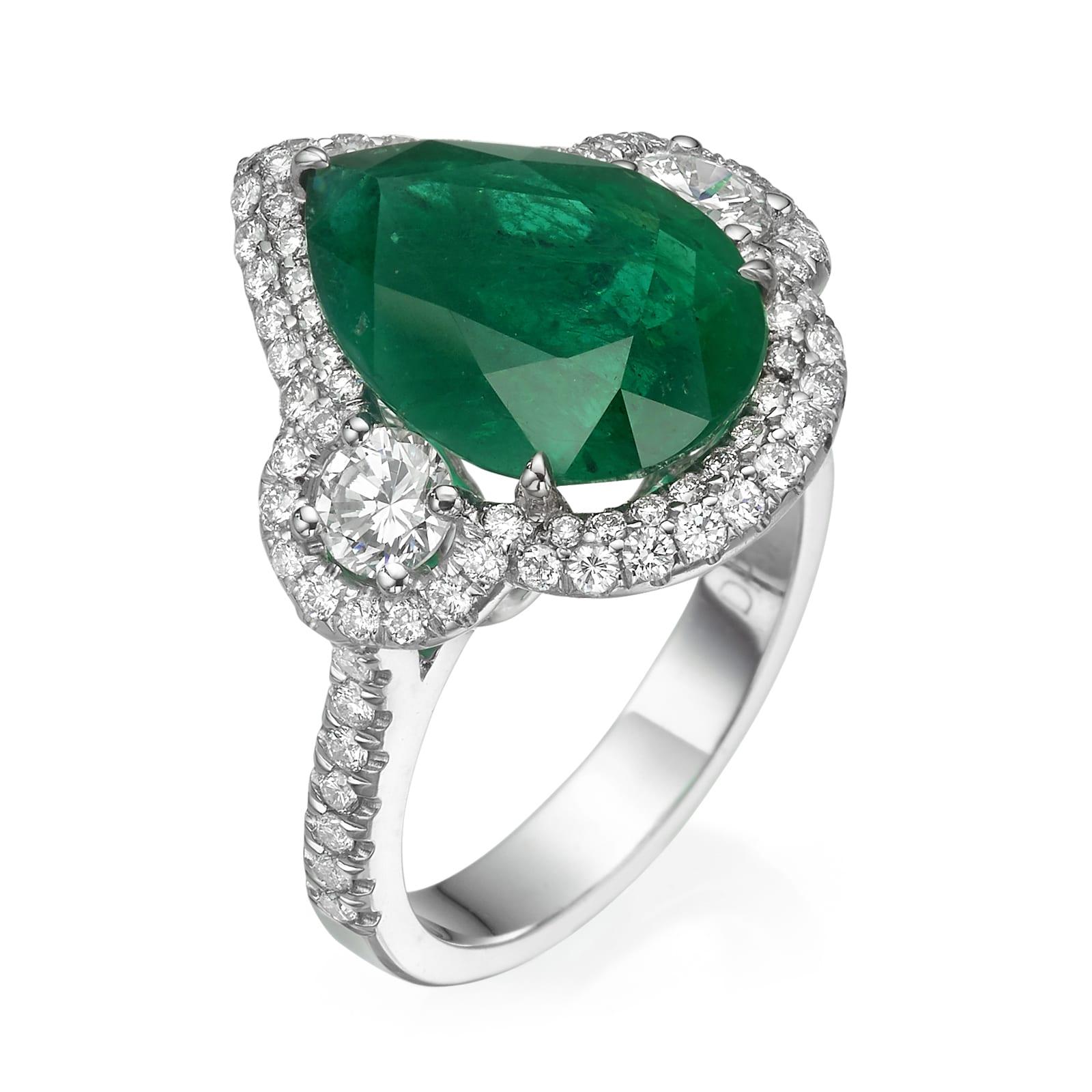 טבעת יהלומים ואמרלד דגם Leticia