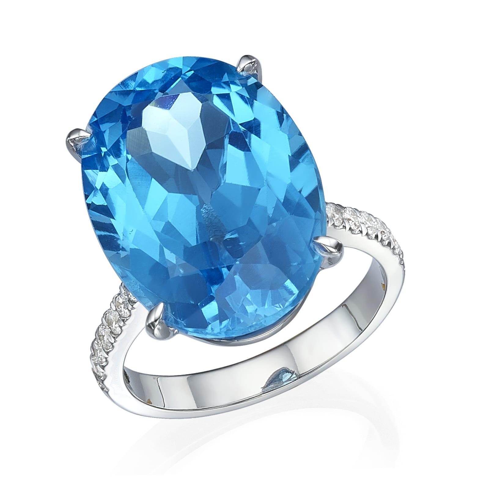 טבעת יהלומים ואבן חן בלו טופז