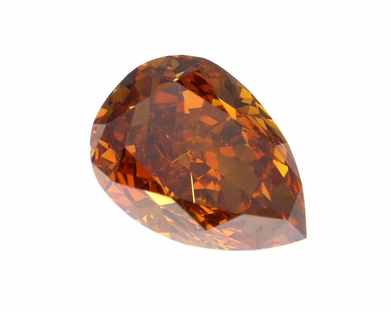 יהלום בגוון כתום חום טבעי 0.45 קראט GIA