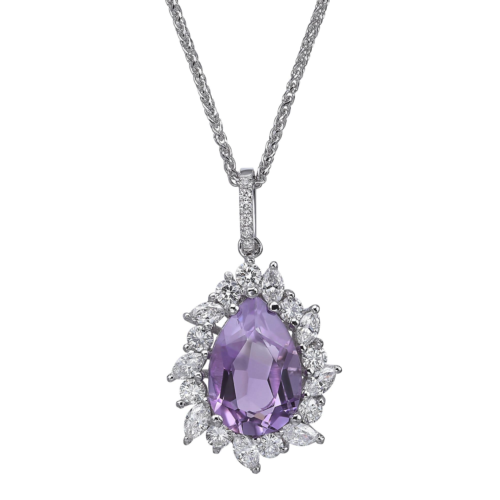 תליון יהלומים ואבן חן אמטיסט