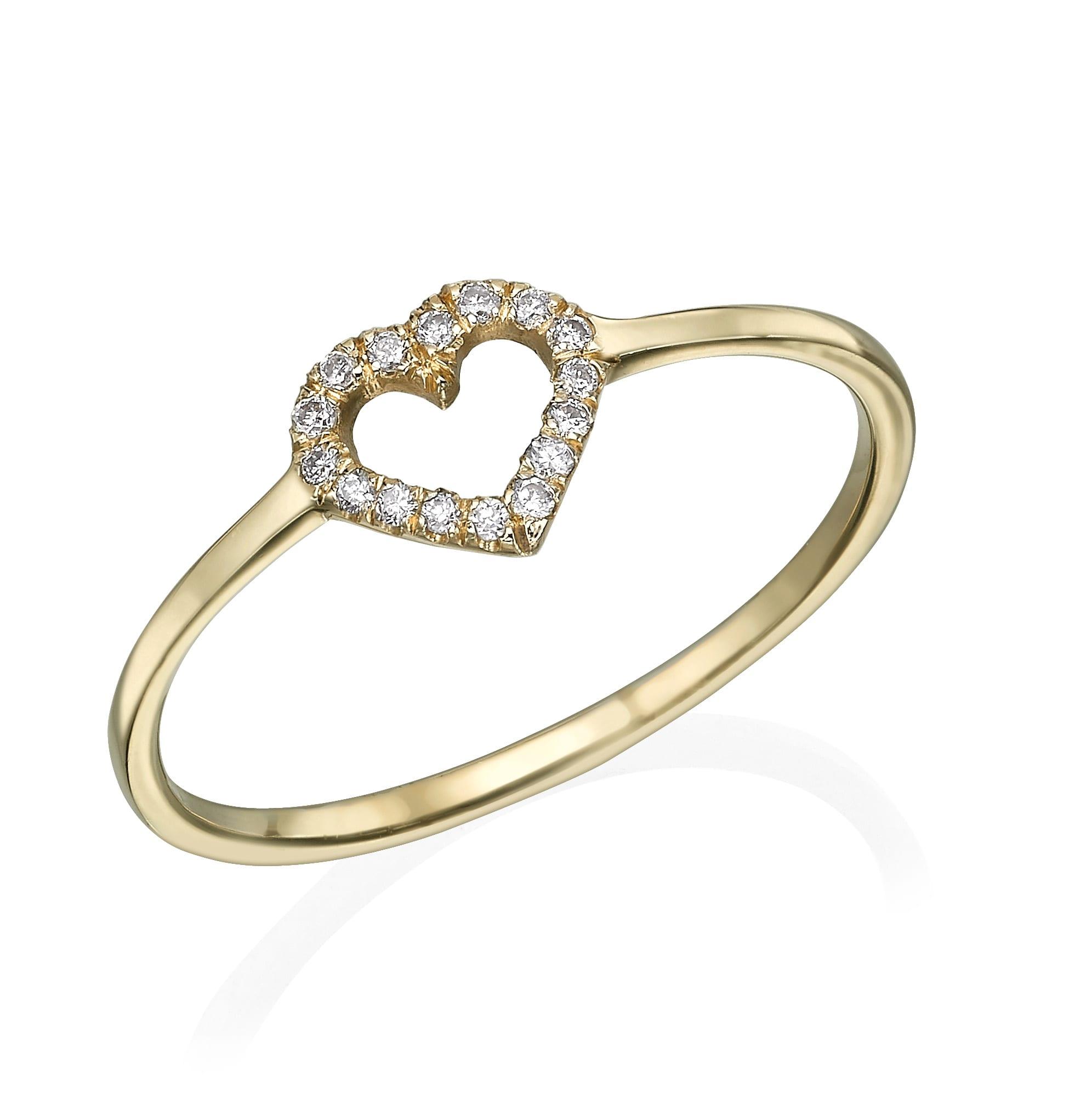 טבעת יהלומים בעיצוב לב ב-30% הנחה!!!