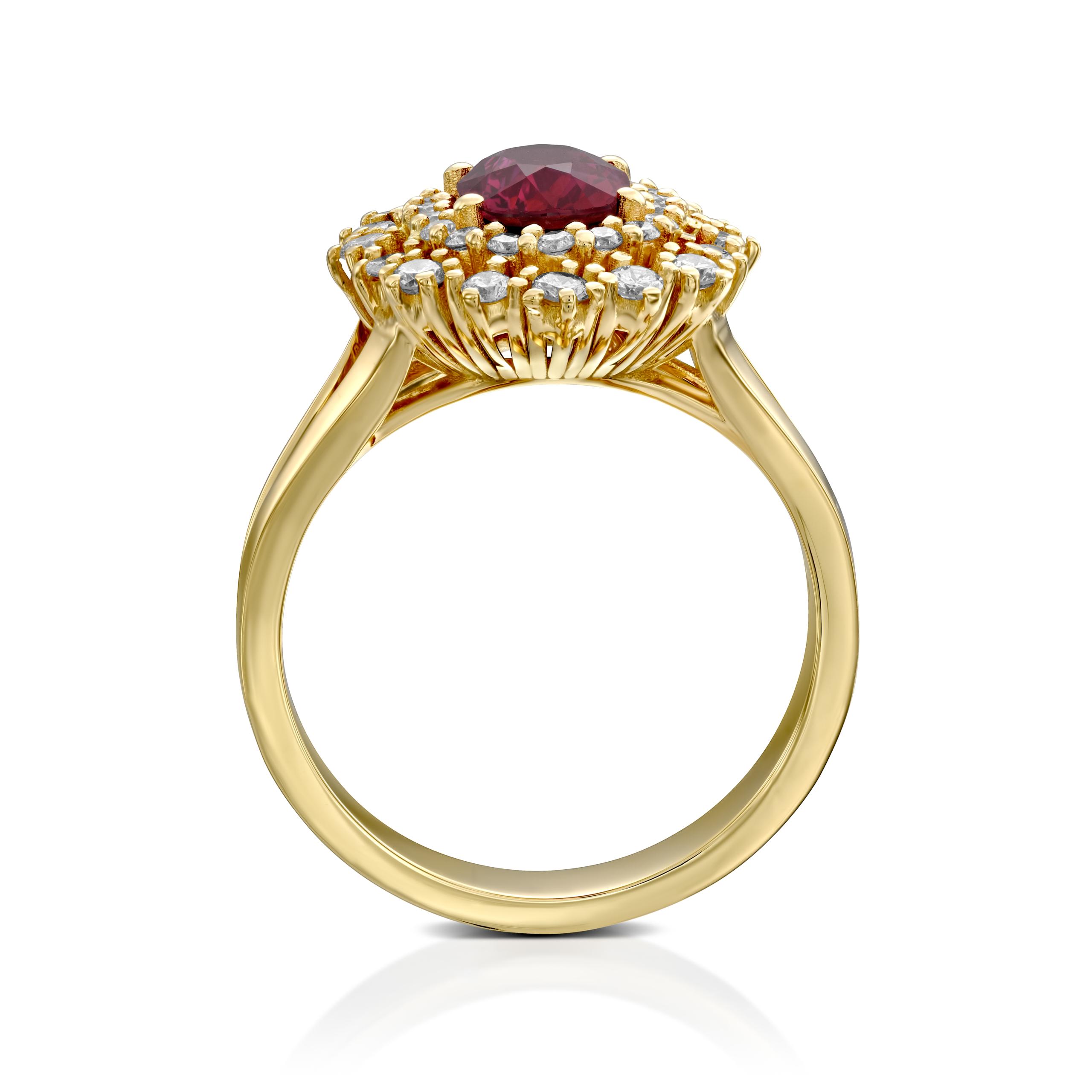 טבעת רובי ויהלומים דגם Gabrielle