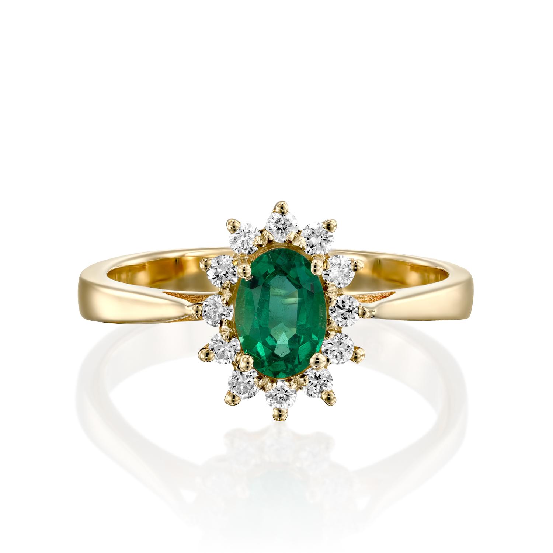 טבעת אבן חן אמרלד דגם Diana