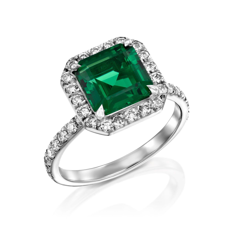טבעת יהלומים ואמרלד דגם Louane